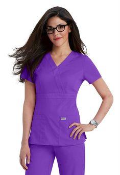 Greys Anatomy mock-wrap scrub top in Nectarine Dental Scrubs, Medical Scrubs, Nursing Scrubs, Scrubs Outfit, Scrubs Uniform, Spa Uniform, Cute Scrubs, Red Scrubs, Greys Anatomy Scrubs