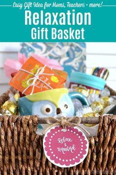 How to make a DIY Relaxation Gift Basket. Easy tips + tutorial! This creative survival kit is full of customizable relaxing gifts for anyone who's overworked or stressed. These easy Relaxation Gift Ideas are ideal for moms, teens, friends, and for men. Makes a fun DIY gift basket idea for Mother's Day, Father's Day, or Teacher Appreciation. Perfect for a fundraiser raffles, too! | Hello Little Home #giftidea #giftbaskets #giftbasketideas #mothersdaygift #fathersday #relaxation #stressrelief