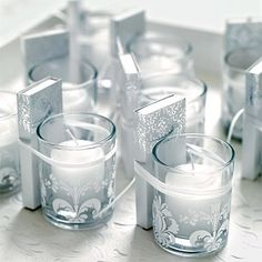 Find the perfect gifts for your wedding guests. Browse wedding favor ideas including edible favors, DIY favors, and personalized wedding favors. Candle Wedding Favors, Candle Favors, Beach Wedding Favors, Wedding Pins, Gifts For Wedding Party, Votive Candles, Wedding Details, Wedding Matches, Candle Gifts