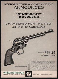 1959 RUGER Single-Six Revolver .22 Revolver PRINT AD w/ original price #Ruger