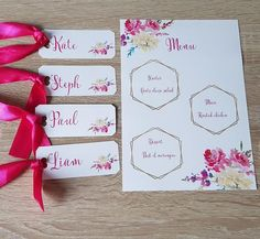 I mixed some bright pink flowers, font & ribbon with a gold geometric frame, to finish this beautiful passion pink wedding stationery, name tags & menus Pink Wedding Stationery, Name Tag Templates, Geometric Wedding, Name Tags, Geometric Shapes, Starters, Pink Flowers, Wedding Events, My Etsy Shop