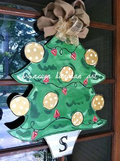 Silver Gold Christmas Tree Door Hanger by BronwynHanahanArt