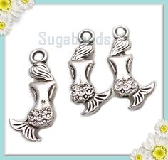 10 Antiqued Silver Mermaid Charms 20mm by sugabeads on Etsy, 2.50