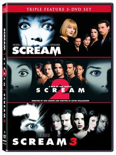 All three #Scream movies are included in special Collector's Editions, with #Scream 2's Collector's Edition only available with this boxed set. A special fourth disc features a behind-the-scenes #documentary, screen tests, outtakes, and a special Cutting Room feature allowing viewers to edit scenes at home. #ScaryMovie #Horror #WesCraven #Halloween #DVD #CourtneyCox #NeveCampbell #Scream2 #Scream3 #Trilogy