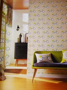 beautiful bikes fabric and wallpaper, available in a range of colour ways