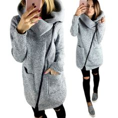 Women Autumn Winter Clothes Casual Warm Long Fleece Jacket Slant Zipper Collared Coat Plus Size S - 5XL Ladies Jacket A747 #Brand #Haoduoyi #sweaters #women_clothing #stylish_dresses #style #fashion