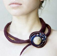 "Jaukios Svajones - felt, beads & decopaged polymer ""stone"" focal bead"