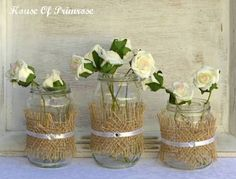 canning jars burlap decoration for reception - Google Search