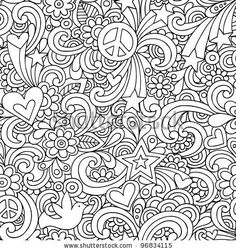 Image detail for -Seamless Pattern Psychedelic Groovy Peace Notebook Doodle…