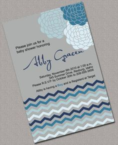 Baby Boy Shower Invitations Printable, Gray, Blue Chevron - 872