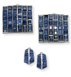 """A SET OF ART DECO SAPPHIRE """"PONT"""" JEWELLERY, BY SUZANNE BELPERRON  Comprising a pair of bombé clip brooches, each designed as six lines of calibré-cut sapphires, a pair of ear clips en suite, late 1930s, 2.8 x 2.5 cm each brooch, with French assay marks for platinum and gold By Suzanne Belperron, with maker's mark for Groene et Darde"""