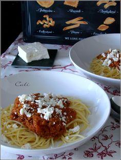 Spaghetti Bolognaise (aux Restes de Gigot d'Agneau) & à la Feta 001