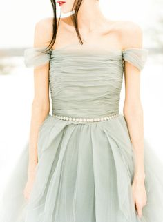 Grey Sarah Nouri wedding dress - so unique!