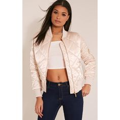 Mayzie Nude Quilted Satin Bomber Jacket ($33) ❤ liked on Polyvore featuring outerwear, jackets, pink, blouson jacket, pink satin jacket, pink quilted jacket, flight jackets and satin bomber jackets