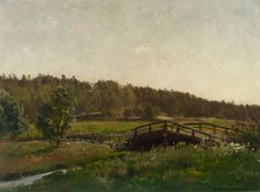Hjalmar Munsterhjelm (1840-1905) Niittypuron yli johtava silta / Meadow bridge over the creek 1882 - Finland Finland, Paths, Fine Art, Artist, Artworks, Blessed, Paintings, Museum, Pathways