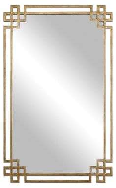 "23""x37"" Corner Detail Mirror, Gold"