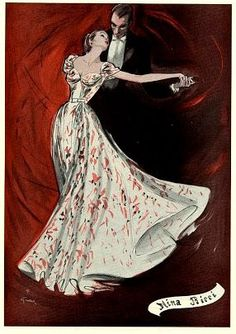 Evening gown by Nina Ricci illustrated by Rene Gruau, 1946