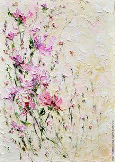 Купить Картина кофе с молоком кремовая персиковая розовая цветами в столовую - современный импрессионизм