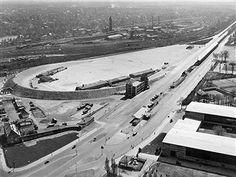 AVUS Berlin Blick vom Funkturm auf die leere Nordkurve 1951