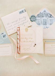Romantic Parisian Invitation Suite / via: Style Me Pretty