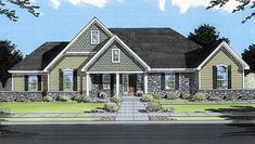 Traditional Style House Plans - 1615 Square Foot Home , 1 Story, 3 Bedroom and 2 Bath, 2 Garage Stalls by Monster House Plans - Plan Southern House Plans, Country Style House Plans, New House Plans, Dream House Plans, Bungalow Floor Plans, Craftsman Floor Plans, House Floor Plans, House Plans 3 Bedroom, Monster House Plans