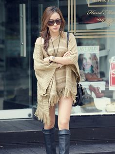Vogue Tassels Embellished Bat-wing Sleeves Hollow-out Sweaters