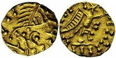 WISIGOTHS, Liuva (567-572) ou Leovigild (569-586) (?), AV tremissis anonyme, Droit : Tête dégénérée à droite. Revers : Victoire stylisée marchant à droite, la tête figurée par une étoile. Légendes dégénérées. Ref.: Tomasini, - (cfr 658); Belfort, 5354 var. 1,41g. Très Rare.