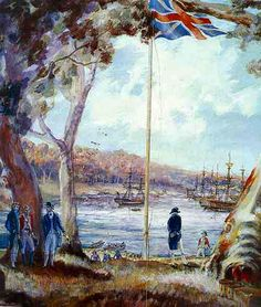 of January Captain Arthur Phillip .First Fleet landing Botany Bay, New South Wales. Australia Facts, Australia Day, Fleet Landing, Arthur Phillip, Van Diemen's Land, Royal Navy Officer, First Fleet, Colonial Art, Botany Bay