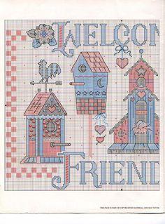 Schema punto croce Casa Uccellino Bello  Welcome 02