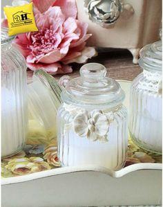Candela in barattolo di vetro shabby chic decorazione orchidea EDG Altezza 13 cm