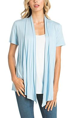 Azules Womens Short Sleeve Open-Front Vest Cardigan
