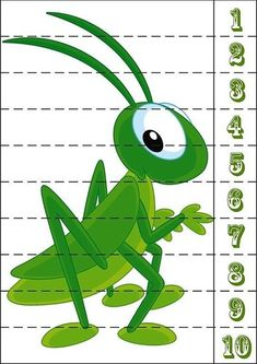 * Tel-puzzel: krekel! Number Puzzles, Maths Puzzles, Puzzles For Kids, Fun Classroom Activities, Learning Activities, Kids Learning, Zoo Crafts, Insect Crafts, Preschool Letters