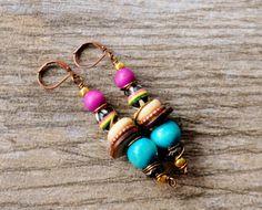 African Earrings Boho Earrings Rasta Earrings by ZenCustomJewelry