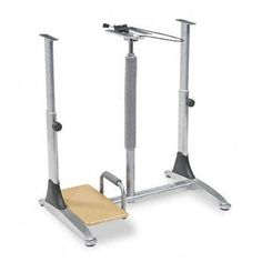 """Ergo Sit/Stand Workstation, 41w x 29d x 29-39h, Steel Base (Box One) - BLT82493 by Balt. $512.37. 13. A total ergonomic unit. 41w x 29d worksurface adjusts pneumatically from 29"""" to 39"""" at the touch of a finger for sitting or standing. Top printer shelf 25-1/2w x 11-3/4d, bottom CPU shelf 10w x 19-3/4d. 20w x 11d keyboard shelf tilts from +22.5?/-15? and can raise 1"""" above or 4"""" below worksurface. Independent, articulating mouse platform for right- or left-hand use. Teak finish ..."""