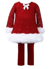 880bab7a822 Bonnie Jean Girls Red Santa Christmas Lace Velvet Dress Legging Outfit  2T-6X  BonnieJean