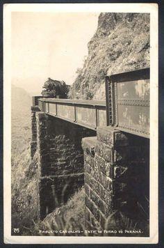 Paraná - Temática Ferrovias - Trem - Viaducto Carvalho, Estrada de Ferro - Foto Postal antigo original