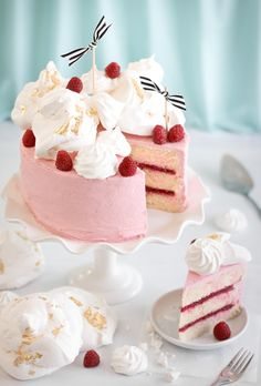 If anyone ever baked us a cake this delightful-looking, we'd certainly wonder what we'd done to deserve it (right after we wiped the raspberry-buttercream frosting off our upper lip, that is).