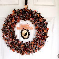 Halloween Fabric Scrap Wreath