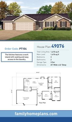 Starter Home Plan 49076 | Total Living Area: 1,418 SQ FT, 3 bedrooms and 2 bathrooms. The kitchen features a work island with seating and easy access to the laundry. #starterhome
