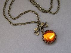 Vintage honey amber necklace in antique brass with by sevenstarz
