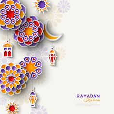 Ramadan Kareem concept banner with islamic geometric patterns. Vertical border with paper cut flowers, traditional lanterns, moon and stars on light background. Ramadan Png, Ramadan Cards, Mubarak Ramadan, Ramadan Gifts, 2018 Ramadan, Islamic Art Pattern, Pattern Art, Geometric Patterns, Eid Crafts