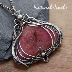 Silver pendant with Rhodonite, handmade silver Art Nouveau pendant with a cabuchon of the pink gemstone Rhodonite by NaturalJewels on Etsy https://www.etsy.com/listing/605249789/silver-pendant-with-rhodonite-handmade