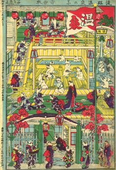 Utagawa Yoshifuji Popular Hotspring Spa [of Cats], Color woodblock print; 22 ½ x 16 inches. Courtesy Hiraki Ukiyo-e Foundation. The LOLcats Of Japanese Print Art Have Officially Taken Over Illustrations, Illustration Art, Japanese Illustration, Asian Cat, Best Cat Gifs, Japanese Cat, Arte Horror, Japanese Painting, Japanese Prints