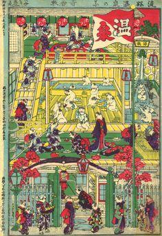 歌川芳藤(1828 – 1887)『流好温泉の圖』(1880)