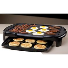 """Oster® Griddle with Warming Tray    Product Features: •15"""" x 18"""" Non stick cooking surface •Convenient warming tray slides from underneath the griddle to keep cooked food warm for the whole family •Removable, adjustable temperature probe •Cool Touch housing •Removable drip tray allows for easy clean up •Dishwasher safe with probe removed www.walmart.com"""