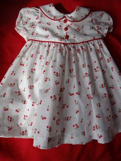 soft cotton toddler girl's dress in cherry print by dragonbees, $29.95