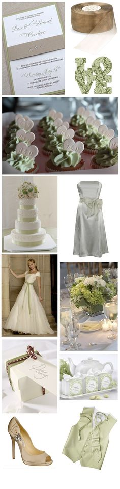 sage green and light mocha wedding theme inspiration