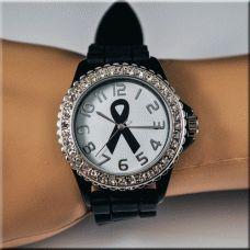 Black Melanoma Cancer Watch with Crystals, #Cancer awareness jewelry, melanoma awareness