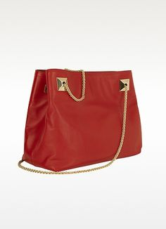 Valentino Garavani Red Leather Shoulder Bag.. metal chain straps anchored by large pyramid studs