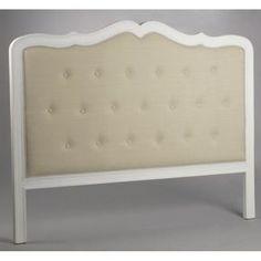 b11c893e43f7a Tête de lit romantique capitonnée bois blanc et tissu beige AMANDINE  L165xH126 AMADEUS Tête De Lit